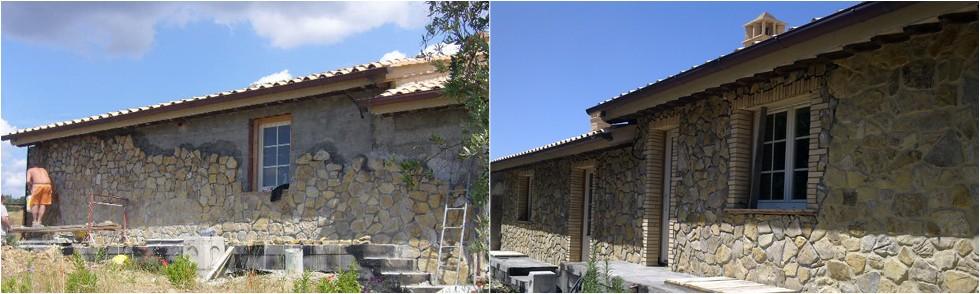 Realizzazione di rivestimento in pietra e sistemazioni esterne di edificio esistente